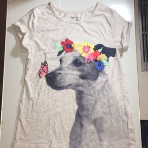 NWOT Gap Dog and Butterfly Tee with Raised Flowers